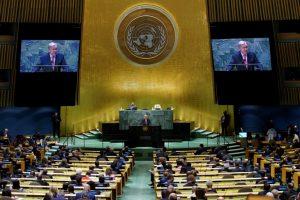 UN Secretary-General Antonio Guterres speaking at 76th UNGA session. (Aljazeera)